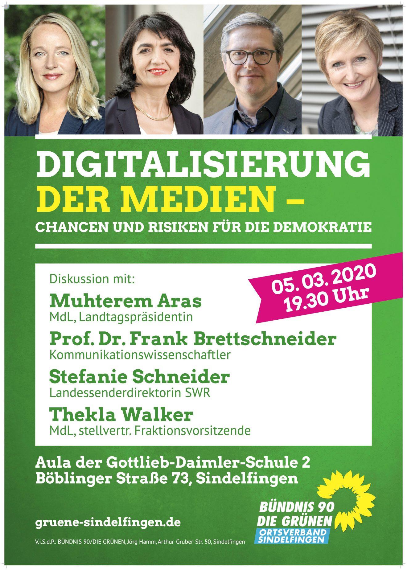 """Podiumsdiskussion """"Digitalisierung der Medien – Chancen und Risiken für die Demokratie"""" (Donnerstag 5.3., Gottlieb-Daimler-Schule Sindelfingen) mit Landtagspräsidentin Muhterem Aras wird verschoben"""