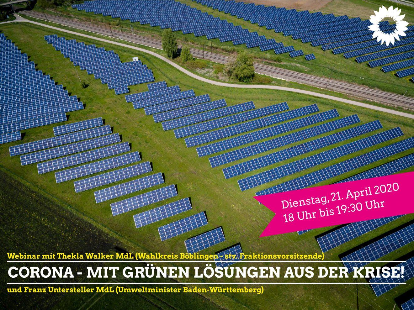 Webinar: Corona - mit Grünen Lösungen aus der Krise! - mit Franz Untersteller