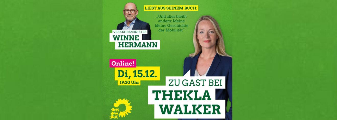 Zu Gast bei Thekla Walker – Winne Hermann liest aus seinem Buch: Und alles bleibt anders: Meine kleine Geschichte der Mobilität